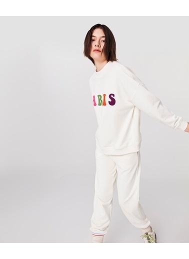 Twist Kadın Flok Baskılı  Sweatshirt TS1210091019018 Ekru
